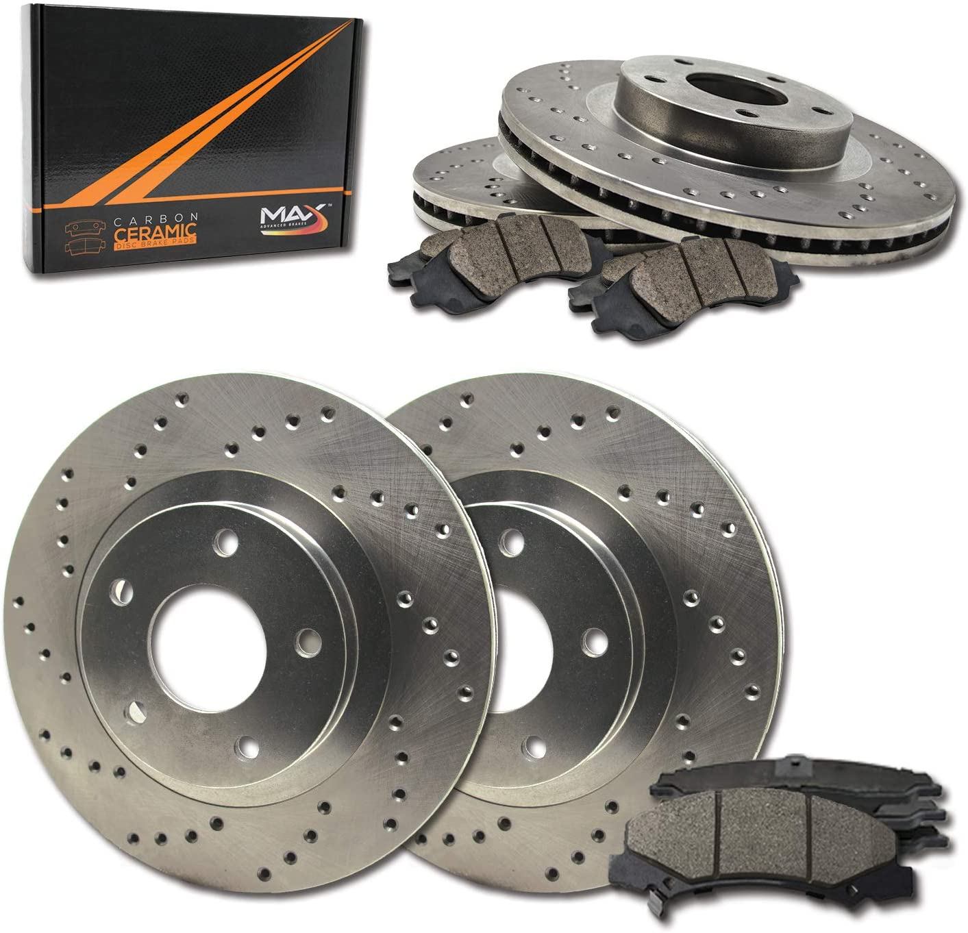 Front + Financial sales sale Rear Max Brakes Premium XD Memphis Mall Rotors Ceramic with Carbon