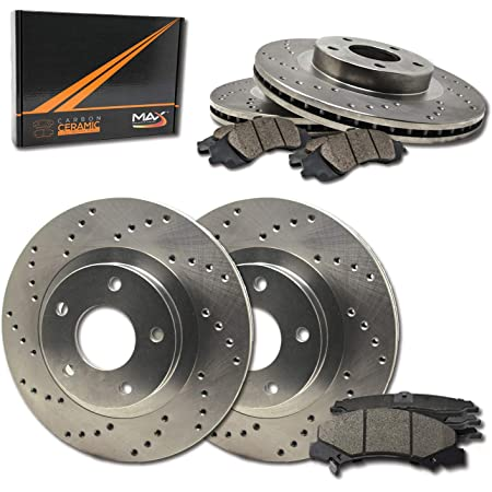 Fits: 2006 06 2007 07 2008 08 Honda Civic Coupe Si Models TA035143 Max Brakes Front /& Rear Premium Brake Kit OE Series Rotors + Metallic Pads