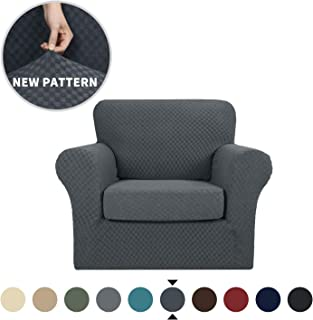 YEMYHOM Latest Checkered 2 Pieces Chair Covers for Living Room High Stretch Thickened Chair Slipcovers with Arms Anti Slip Elastic Armchair Sofa Couch Slipcover Protector (Chair, Dark Gray)