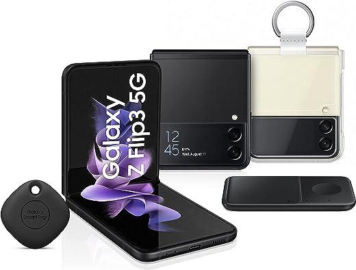 هاتف سامسونج جالاكسي Z Flip3 ثنائي الشريحة - 256 جيجابايت، ذاكرة رام 8 جيجابايت، الجيل الثاني، أسود (KSA اصدار مزدوج) + شاحن لاسلكي مزدوج لهاتف سامسونج + غطاء شفاف مع حلقة + بطاقة سامسونج الذكية
