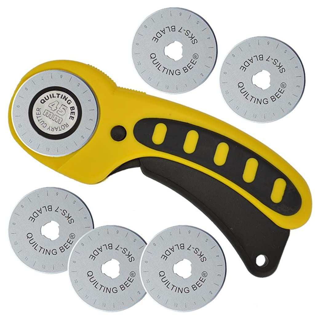 Quilting Bee 45mm Rotary Cutter & 5 Refill / Replacement Blades (RCRBCC)