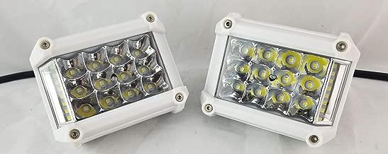 White LED Deck/Marine Lights (Set of 2) for Boat (Flood Light) 12V 18W
