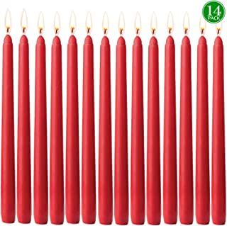 YIH 14 pcs Unscented Burgundy Taper Candle | Hand Poured Wax Candles 10