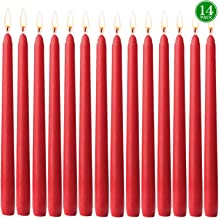 YYCH 14 pcs Unscented Red Taper Candle, Hand Poured Wax Candles 10 Inch x 7/8 Inch, Home Décor, Wedding Receptions, Baby S...