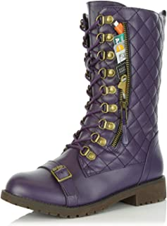a85e47e95 DailyShoes Women's Ankle Bootie High Lace up Military Combat Mid Calf  Credit Card Knife Money Wallet