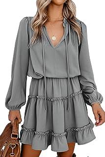 BTFBM Women Casual Fall Dresses V Neck Tie Neck Long Sleeve High Waist Dot Ruffle Tiered A Line Solid Swing Mini Dress