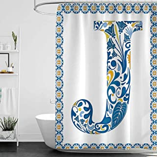 homecoco Shower Curtains That Split in The Middle Letter J,Illustration of Capital Letter J in Flower Pattern Design Ornamental Print,Blue Yellow Orange W36 x L72,Shower Curtain for clawfoot tub