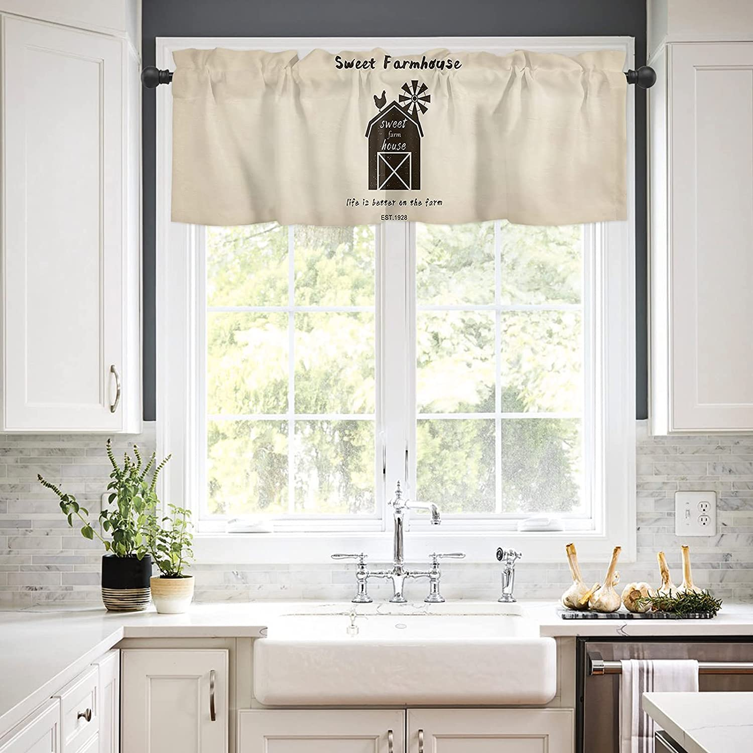 Rod Pocket Window Valances Curtains Farmhouse for Kitchen Sweet Beauty Discount mail order products