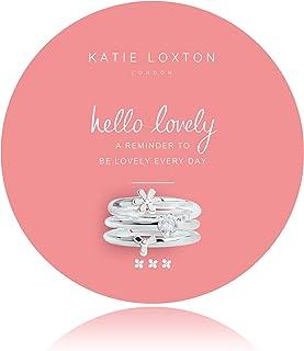 Katie Loxton 夏日闪耀 - Hello Lovely - 圆形卡片上有银色花和水晶戒指
