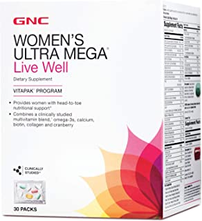 GNC Women's Ultra Mega Live Well Vitapak, 30 Packs, Contains Omega-3, Calcium, Biotin, Collagen and Cranberry for Overall ...
