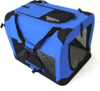 Pet Travel Carrier Soft Crate Portable Puppy Dog Cat Kitten Cage Kennel Home House Blue (Large 70x50cm)