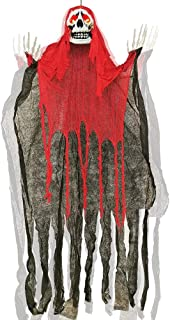 ATDAWN 5.6 Ft Hanging Screaming Ghost Decoration, Halloween Skeleton Grim Reaper Door or Wall Curtain for Haunted House Prop Decoration, Red