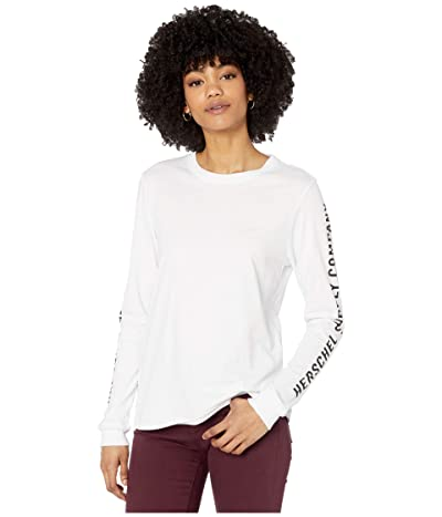Herschel Supply Co. Long Sleeve Tee (Sleeve Print Bright White/Black) Women