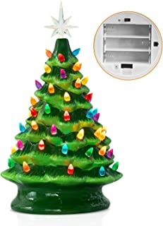 Ceramic Christmas Tree with Multicolored Lights 13.58 Inch Tabletop Halloween Holiday Decoration Lighted Vintage Ceramic Tree with Star Topper Tree Green