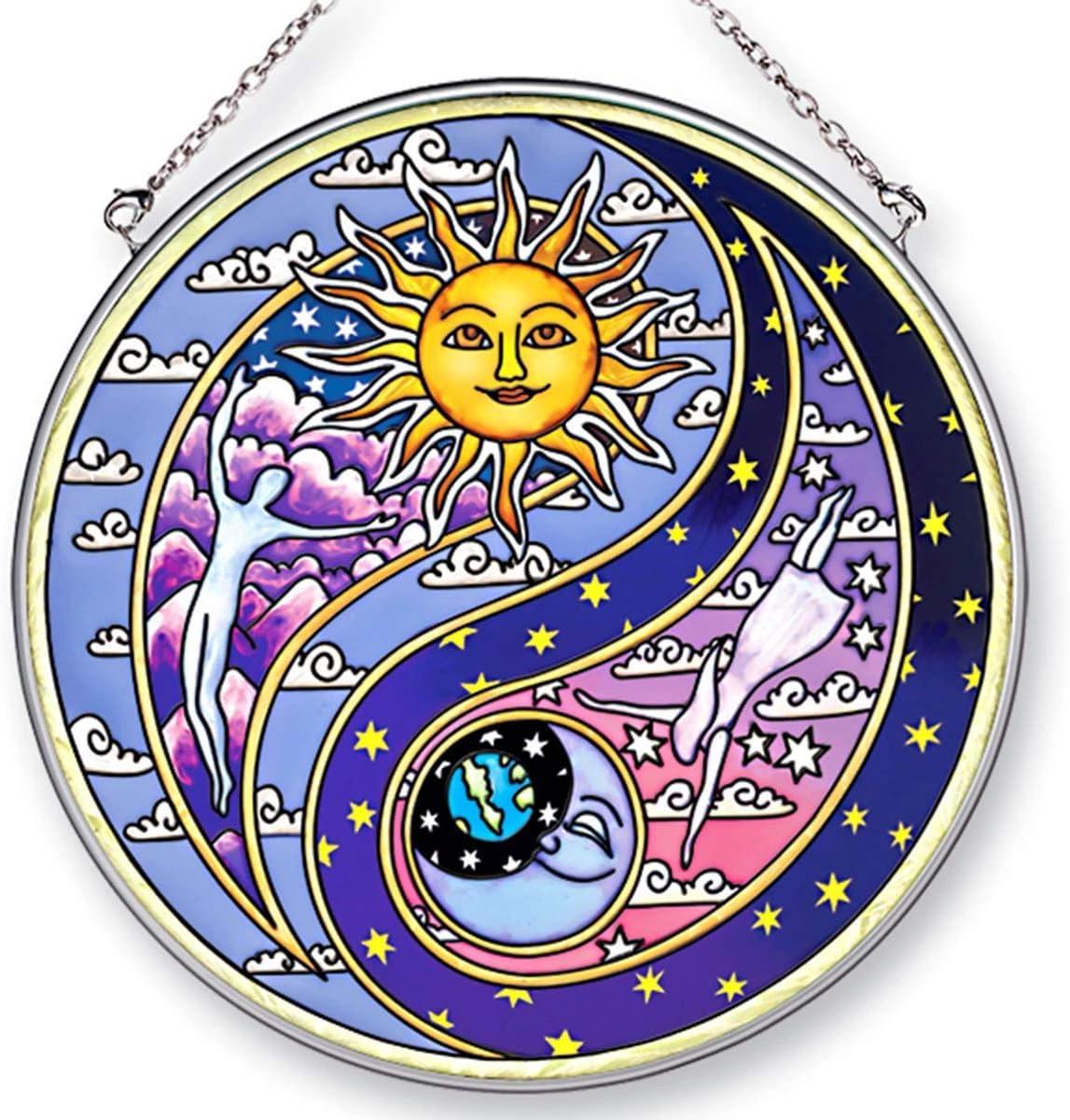 Amia Hand Painted Glass Yin 6-1 2-Inch Yang Circle Suncatcher Long-awaited Ranking TOP14