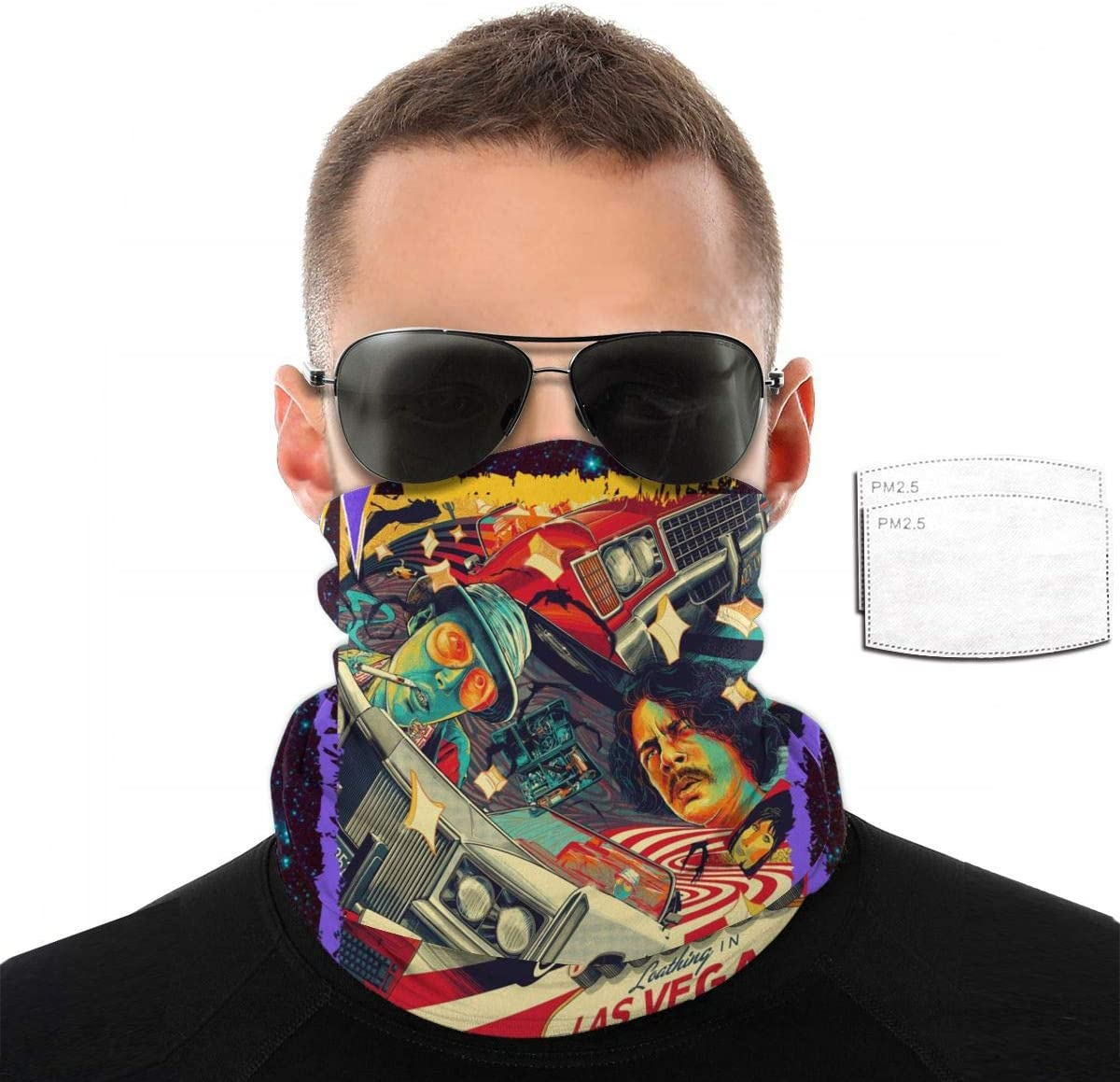 LisaCrocker Neck Gaiter Balaclava Scarf Fear and Loathing in Las Vegas Cartoon Bandanas for Outdoors with 2 Filter