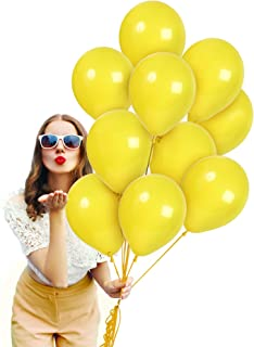 Treasures Gifted 12 Inch Yellow Solid Latex Premium Quality Balloons Bouquet for Variety Baby Showers Cocktail Birthdays Lucky Fairytale Weddings Topical Lemon Fiestas Party Supplies (72 Pack)