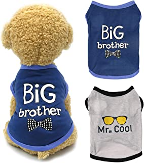 Dogs Shirt Pet Clothes, Puppy Clothing 2 Pcs Brothers Printed Vest T-Shirt Cat Apparel Doggy Breathable Sweatshirt Outfits...