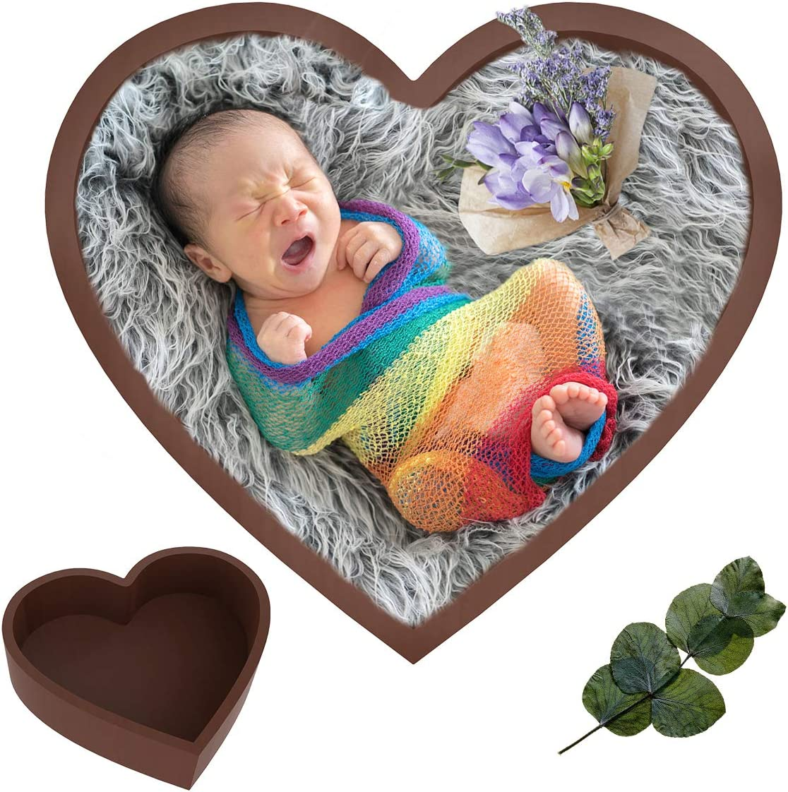 Rehomy Baby Photography Props Heart-Shaped Wooden Newborn Rare Bowl B Las Vegas Mall