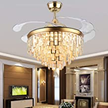 Orillon 42 Inch Golden Modern Chandelier Ceiling Fan with Light for Indoor Room with 4 Retractable Blades and Remote LED 3 Color Changing Lighting,6-Gear Speed Reverse Silent Folding Fandelier (C104)