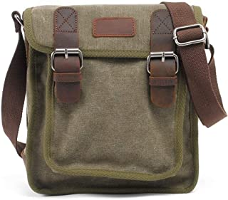 Leather Bag Mens Fashion Casual Canvas Shoulder Bags for Men's Shoulder Bag Travel Leisure High Capacity (Color : Army Green, Size : S)