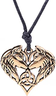 Fashion Viking Irish Knot Animal Wolf Heart Shape Pendant Necklace Jewelry (Antique Gold)