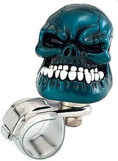 Thruifo Skull Car Steering Knob Suicide Wheel Spinner, Big Teeth Devil Style Car Power Handle Grip Knobs Fit Most Manual Automatic Vehicles, Metallic Blue
