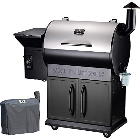 Z GRILLS ZPG-700E 2021 Upgrade Wood Pellet Grill & Smoker BBQ Grill Auto Temperature Control,700 sq in Cooking Area,Stainless & Black (Cover Included)