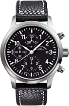 Muhle Glashutte Terrasport I Chronograph Mens Automatic Pilot Watch - 44mm Black Face with Luminous Hands and Sapphire Crystal - Black Leather Band Precision Watch Made in Germany M1-37-74 LB