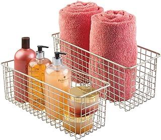 mDesign Lot de 2 paniers à serviettes en métal - Pour salle de bain - Panier de rangement pour serviettes, savon et autres...