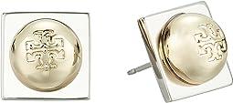 Tory Burch Stacked Logo Stud Earrings