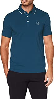 A|X Armani Exchange Men's Short Sleeve Knit Jersey Polo, Majolica, S