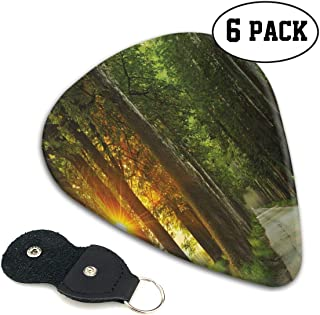 Guitar Picks 6 pcs,Fresh Idyllic Morning Scenery Woods With Rising Sun Peaceful Countryside