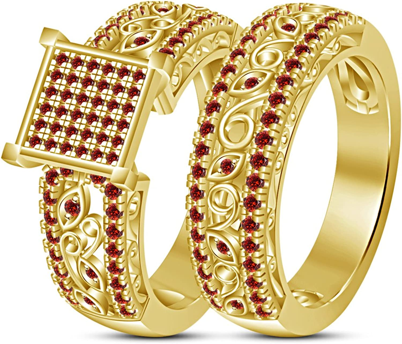 Vorra Fashion Ring Verlobungsring   Brautschmuck, Granat, Rundschliff, Rot