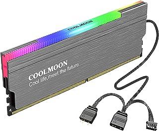 figatia Dissipador de calor em liga de alumínio ARGB Memory RAM Cooler com interface de controlador para PC DDR2 DDR3 - cinza