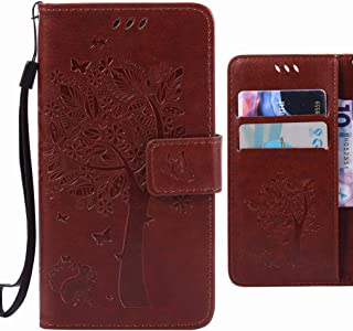 For Samsung Galaxy J3 Pro Case Ougger Tree Cat Printing Wallet Cover Card Slot Premium PU Leather Flip Case Magnetic Bumper Pouch Holster Stand-View Function Coffee