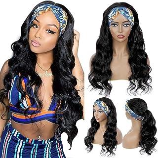 20 Inch Body Wave Headband Wig 150% Density Human Hair Wig Brazilian Virgin Hair Non Lace Front Wig Headband Scarf Wigs Hu...
