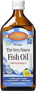 Carlson Labs - 最も良いノルウェーの魚オイル液体Omega-3レモン味 1600 mg。16.9ポンド