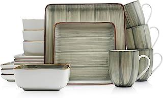 Stone Lain Brushed Square Porcelain Dinnerware Set,...
