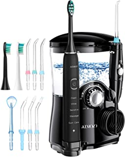 Water Flosser, ATMOKO 600ml Oral Irrigator & Electric Toothbrush with 7 Multifunctional Jet Tips, 3 Min Timer, Dental Wate...