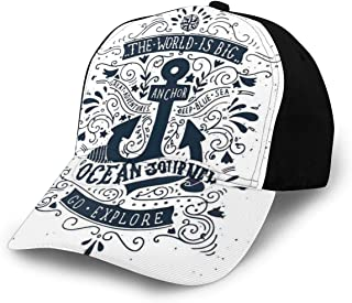 GULTMEE Hip Hop Sun Hat Baseball Cap,Happy Smiling Sea Animals with Coral Reef Anchor Starfish and Shells,for Men&Women