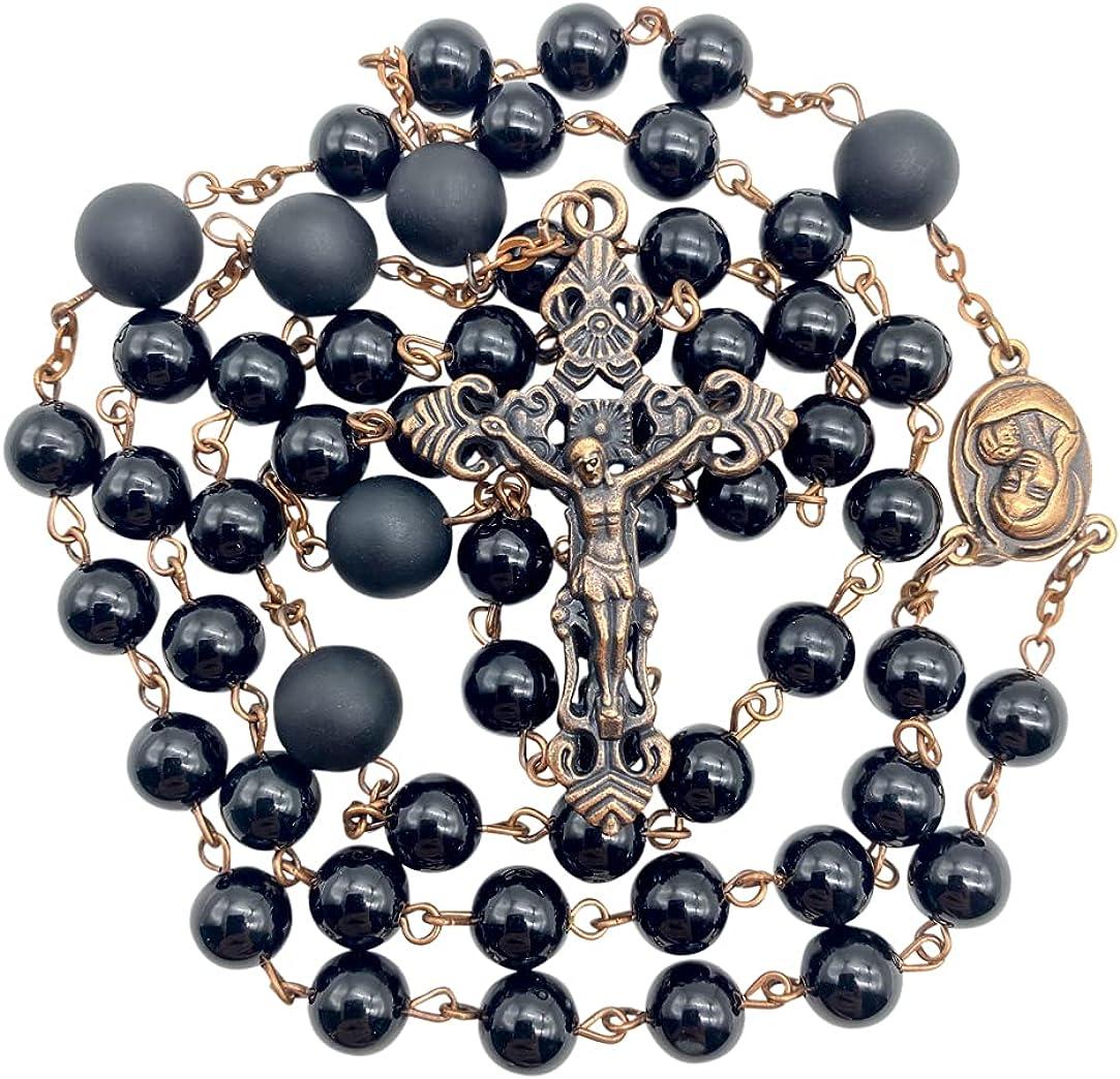Nazareth Store Onyx Rosary Black Beads Necklace Catholic Holy Soil Medal Vintage Cross Crucifix Antique Rosarios Catolicos para Hombre