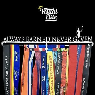   Always Earned Never Given (VE-774)   Sports Medal Display Hanger   Hand-Forged Chrome Steel Design For Marathon, Running, Race, 5K, Wrestling, Jiu Jitsu, Spartan, Etc.   The Medal Hangers Collection