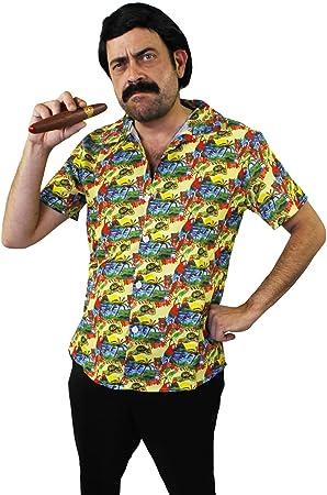 I LOVE FANCY DRESS LTD Disfraz DE Pablo Escobar - Camisa Hawaiana Amarilla + Peluca + Bigote + CIGARRO PELÍCULAS DE TV Disfraces DE SEÑOR DE Las ...