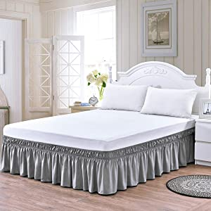 Queen/King Wrap Around Bed Skirts, 18 Inch Drop Ruffled Bed Skirt with Adjustable Elastic Belt, Easy Fit Wrinkle & Fade Resistant Silky Fabric, Grey