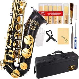 Glory Black / Gold B Flat Tenor Saxophone with Case، 10pc Reeds، Piece Piece، Driver Screw، Nipper. یک جفت دستکش ، پارچه تمیز کننده نرم.