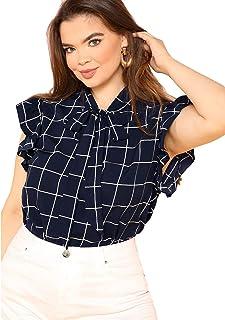 9389128dd0 Romwe Women s Plus Size Bow Tie Neck Short Sleeve Casual Wear to Work Blouse  Tops