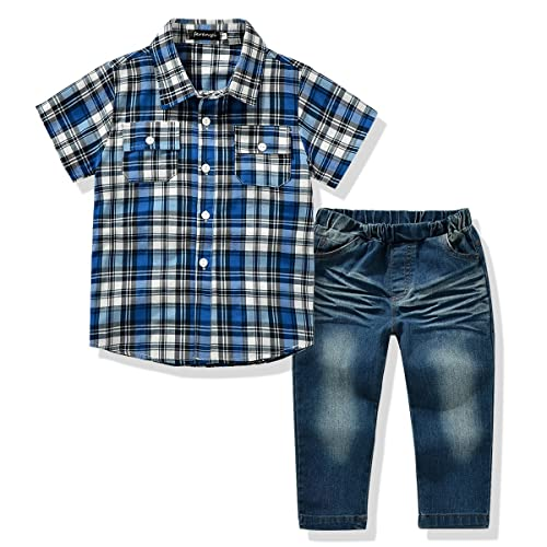 e7021f524be FERENYI US Kids Clothing Boys Casual Short Sleeved Plaid Shirt and Denim  Jeans Sets