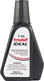 Trodat 45173 Ideal Premium Replacement Ink for Use with Most Self Inking and Rubber Stamp Pads, 1oz, Black