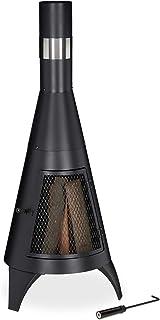 Relaxdays, noir Cheminée porte de protection, brasero pour le bois, Poêle de jardin, HxD: 120x45cm, acier